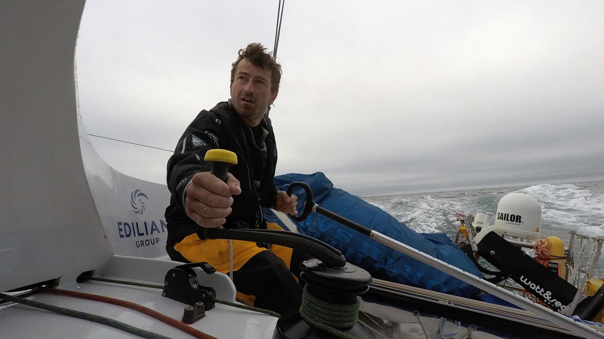 Phil Sharp aboard OceansLab Class 40